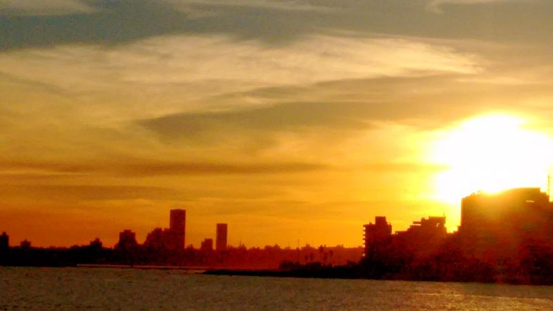 Montevideo Sunset City Building Exterior Architecture Built Structure Urban Skyline Orange Color Sunlight Cityscape No People Skyscraper Nature Outdoors Tree Cloud - Sky Gold Colored Sky Horizontal Day