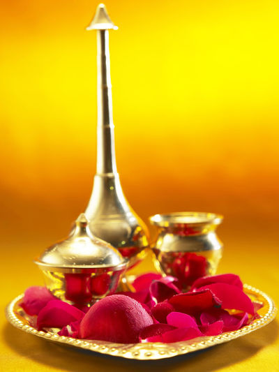holly water Container Diwali Holly Indian Culture  Rose Petals Spirituality Tradition Believe Deepavali  Flower Gold Colored Golden Tray Holly Water No People Offering Praying Red Studio Shot Traditional Water
