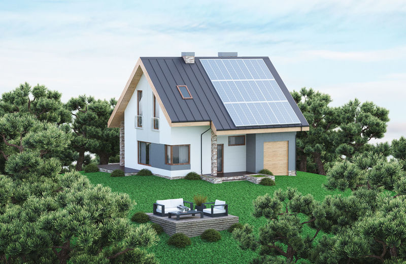 Ecological house with solar panels Green Color Houses Architecture Beauty In Nature Building Exterior Built Structure Day Detached House Ecological House Grass Growth Home Ownership House Luxury Modern Nature No People Outdoors Residential Building Roof Sky Solar Energy Solar Panel Solar Panels Tree