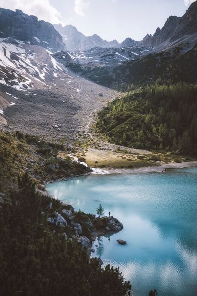 Lapis lazuli. Mountain Beauty In Nature Nature Scenics Tranquil Scene Tranquility Water Mountain Range Non-urban Scene Day Idyllic Outdoors High Angle View Lake Landscape No People Sky Dolomites, Italy