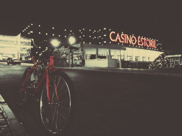 Night Red Transportation Architecture No People Outdoors Having Fun Lifestyles Retro Adventure BTT Leisure Activity Motorized Riding Vintage Portugal Dark Neon Light Casino Luxury Bycicle Bicycle Red Fine Art Photography