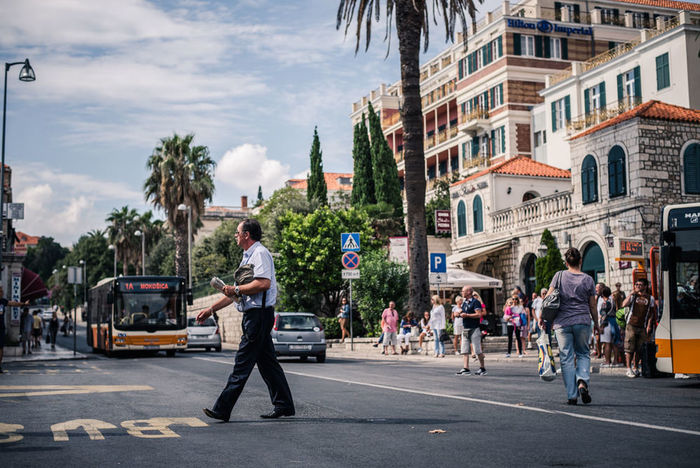 Bus Station Dubrovnik Croatia Travel Photography Street Photography Man Crossing The Street