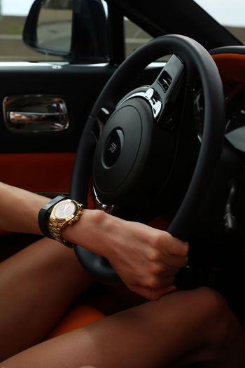 Human Hand Car Car Interior Real People Transportation Land Vehicle Human Body Part Steering Wheel Sitting One Person Mode Of Transport Lifestyles Day Close-up Indoors  Technology People EyeEmNewHere Rolex Rolsroyce