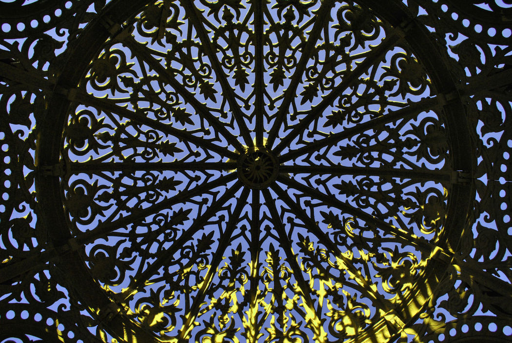 Green Ornamental Patio Rotunda Dome Architecture Art Noveau Blue Sky Cast Iron Close-up Day Design Flower Full Frame Indoors  Light And Shadow Low Angle View No People Pattern Symmetry
