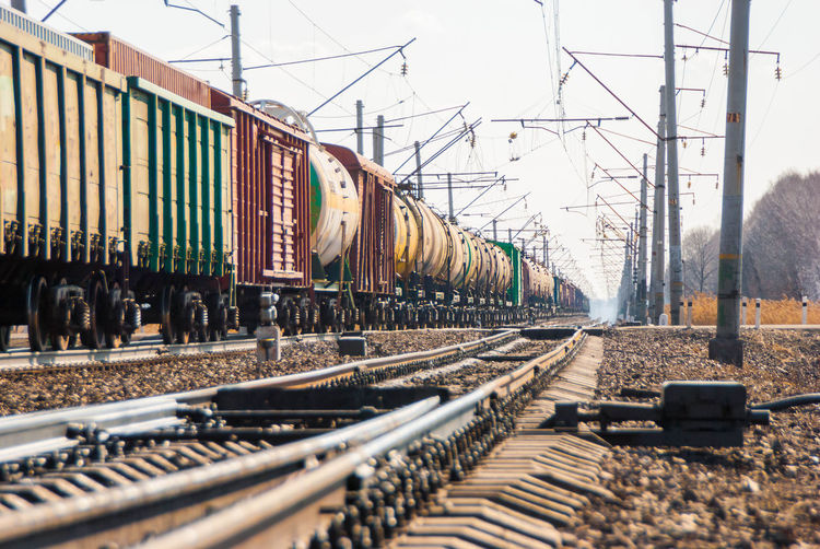 Day Freight Train Freight Transportation Locomotive Mode Of Transport No People Outdoors Public Transportation Rail Transportation Railroad Track Shunting Yard Sky Stationary Train - Vehicle Transportation