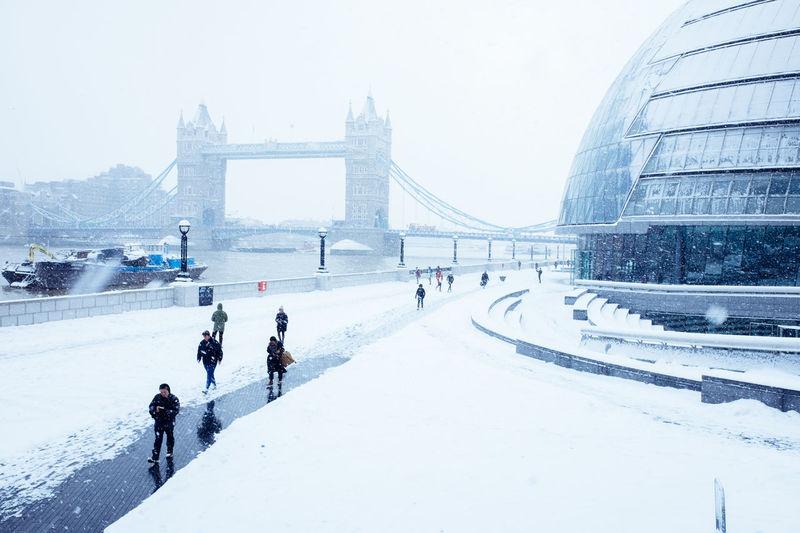 View of suspension bridge in winter