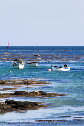 Beauty In Nature Blue Boat Bretagne Bretagnetourisme Calm Clear Sky Horizon Over Water Idyllic Jet Boat Mode Of Transport Nature Nautical Vessel No People Scenics Sea Sky Small Fishing Boat Tranquility Transportation Water