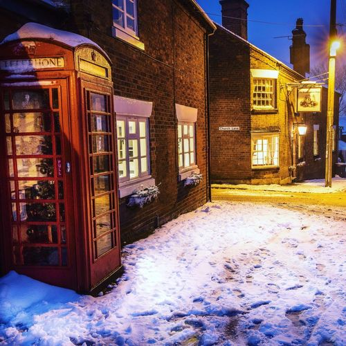 Oldphonebox Architecture Built Structure Building Exterior Window No People Outdoors Snow