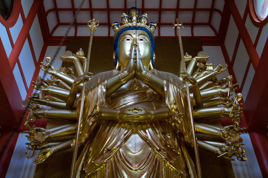 Wakayama Buddha Buddha Close-up Creativity Façade Golden Color Green Color Human Representation Idol Kimiidera Low Angle View Place Of Worship Sculpture Spire  Statue