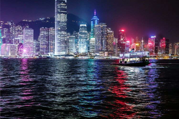 Night Harbour Ferry Reframinghk Discoverhongkong Nightshooters Architecture Building Exterior Built Structure Night Illuminated Water City Building Skyscraper Waterfront Office Building Exterior Urban Skyline Landscape Sky Modern Nautical Vessel Cityscape Travel Destinations River No People