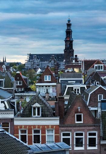 Amsterdam Church Tower Cityscape Cloud - Sky Dutch Holland Jordaan Moody Sky Netherlands Residential District Rooftops Travel Destinations Westerkerk Windows