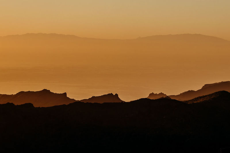 The textures of Tenerife Mountain Silhouette Beauty In Nature Tranquil Scene Tranquility Scenics - Nature Sunset Sky Mountain Range No People Nature Non-urban Scene Idyllic Orange Color Environment Landscape Remote Majestic Outdoors Copy Space Mountain Peak Tenerife Tenerife Island