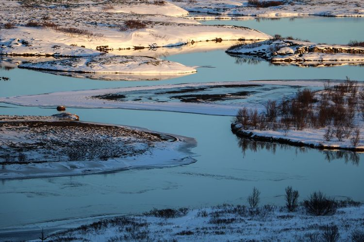 High angle view of lake during winter