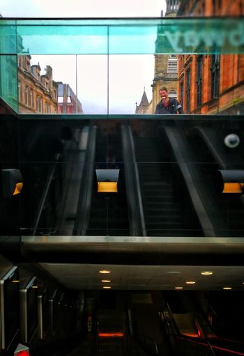 Architecture Built Structure Transportation Travel Destinations Low Angle View Outdoors Sky Streets Of Glasgow Going Underground Subway Station Triptych