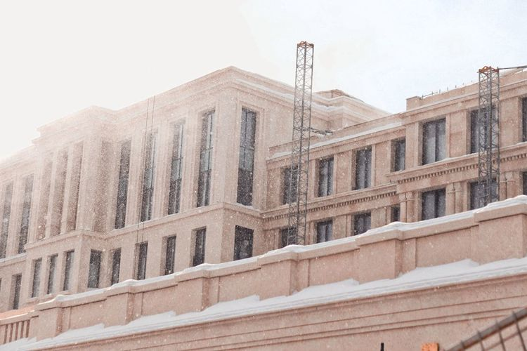 Building in snow. Moscow Russia Light Urbam City Sun Building Snow Bright Snowing Gold