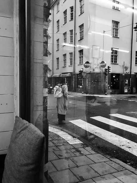 From The Window Crossing Crossing The Street Street Streetphotography Blackandwhite Monochrome Watching People Cafe Real People Architecture Mirror Reflection Women