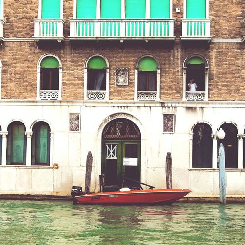 Architecture Building Exterior Travel Destinations Travel Window Built Structure Gondola - Traditional Boat Water Venice Canals Venizia Venice, Italy Italia Italy Moored Red Speedboat Parking In Venice Canals And Waterways Canal Boat Canale  Canale Grande