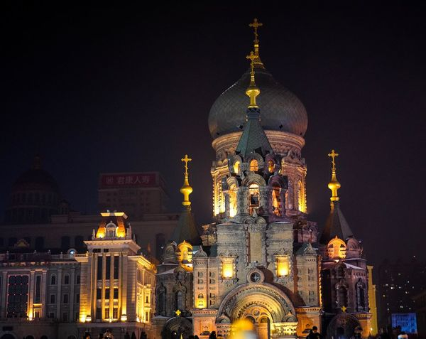 SaintSophia@Night Architecture Night Illuminated Religion Building Exterior Dome Built Structure Place Of Worship Spirituality Travel Destinations Outdoors No People
