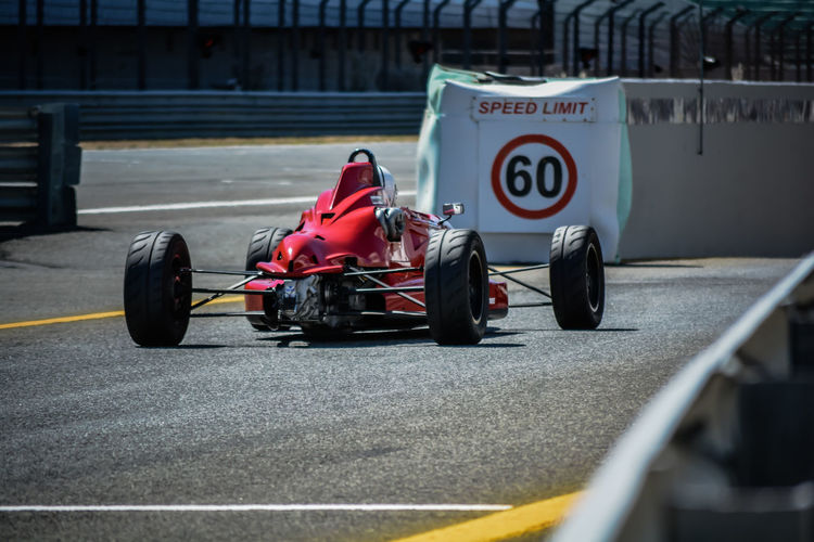 Racecar on road