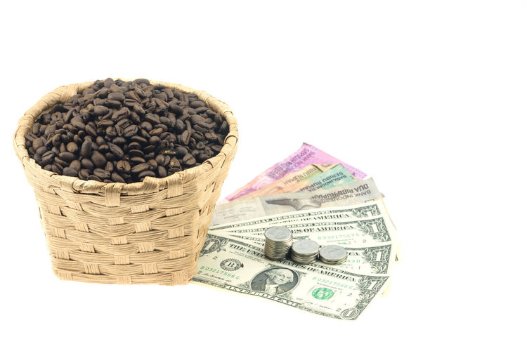 White Background Studio Shot Currency Finance Wealth Cut Out Indoors  Paper Currency Business Still Life Container Close-up Basket Food And Drink No People Large Group Of Objects Copy Space Investment Food Abundance Consumerism Economy