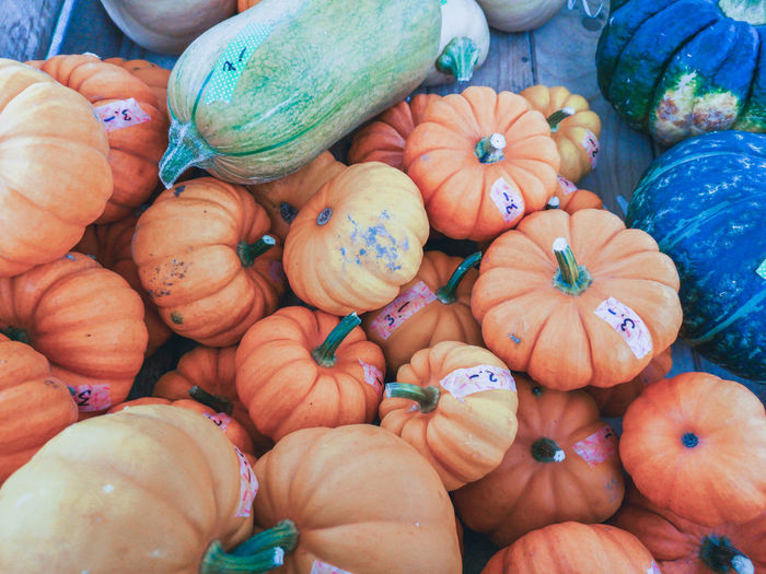High angle view of pumpkins for sale in market