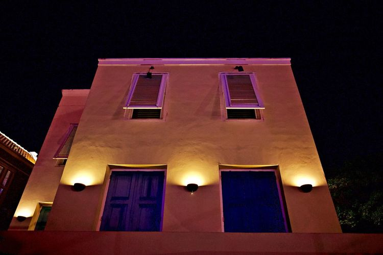 Illuminated Night Architecture Built Structure Building Exterior Low Angle View Building Lighting Equipment Outdoors No People Nature Street Light Ghost House