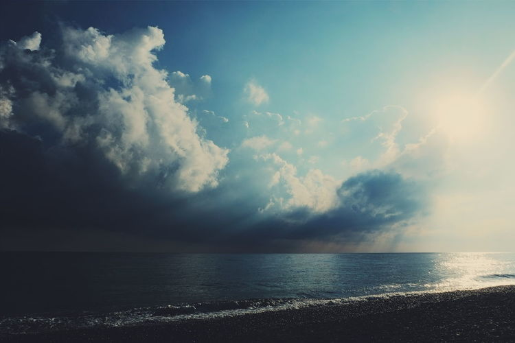 Beach Beauty In Nature Cloud - Sky Day Horizon Over Water Idyllic Nature No People Outdoors Scenics Sea Sky Sun Sunlight Sunset Tranquil Scene Tranquility Water Summer Exploratorium