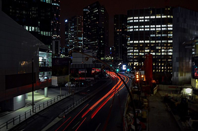 High Angle View Illuminated Night City Transportation Architecture Building Exterior Speed