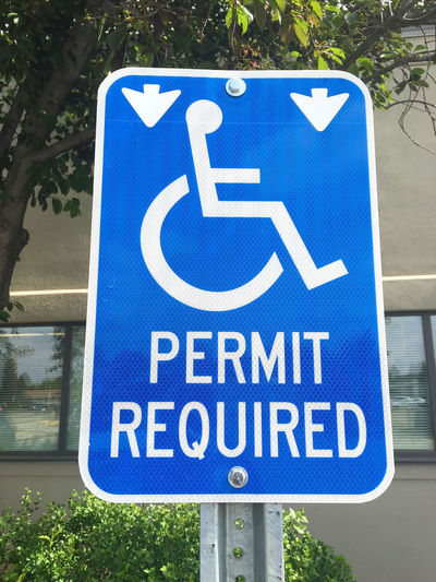 Parking Sign Permit Required Sign Physical Impairment Wheelchair Wheelchair Access
