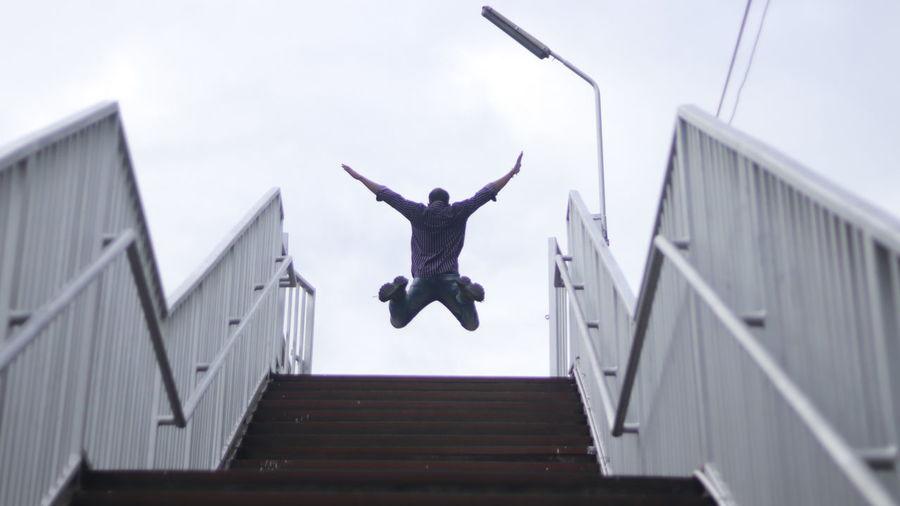 Boy jumping in