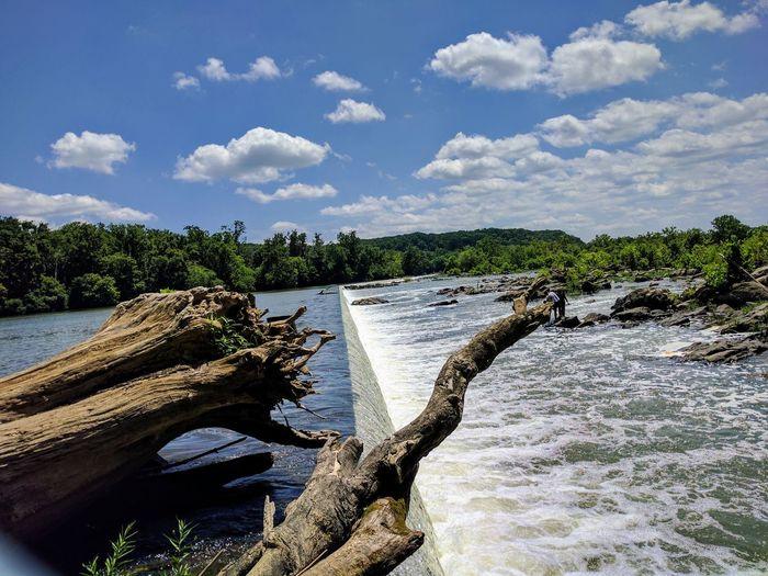 The Washington Aqueduct at Great Falls NP. Water Cloud - Sky Nature Landscape Great Falls National Park