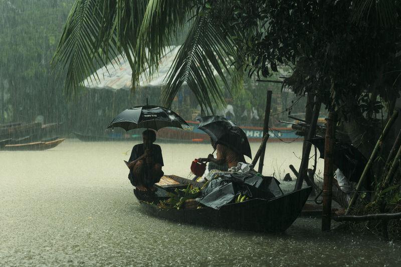 People in rain on rainy day
