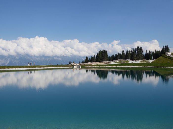 Wasserspeichersee Koppeneck Serles Wasser Bergsee Sky Reflection Water Scenics - Nature Cloud - Sky Nature Tranquility Lake Idyllic Blue