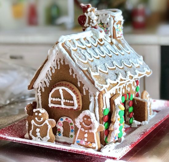 Gingerbreadhouse Gingerbread House Cookies Childhood Christmas Decoration Gingerbread Cookie Sweet Food Celebration Sweet Dessert Focus On Foreground Cake Indoors  Baked Christmas Decoration