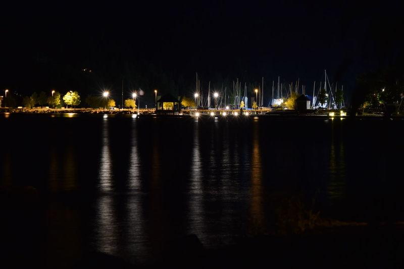 Marina Night Long Exposure Lights Water Reflection North Idaho Dark Sandpoint