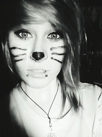 Sometimes the hardest thing is to wear our own skin. That's Me Hayley Makeup Cat Wiskers Kitty Cat Scene