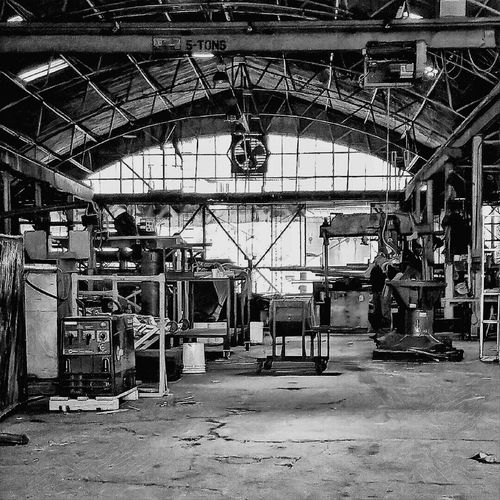 Industrial Machine Shop Gritty Workplace Tool And Die Shop Black And White Photography Moody Blue Collar Grime
