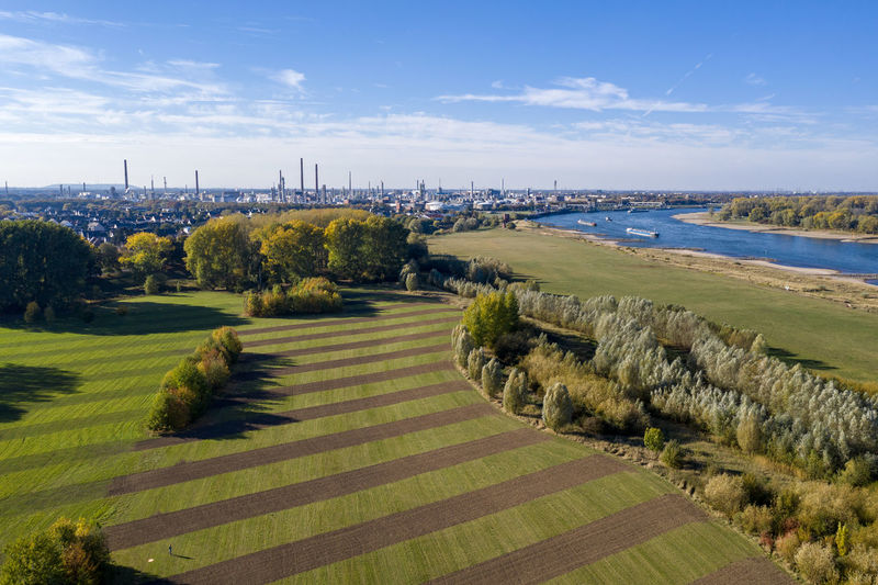 Rheinaue in Cologne-Worringen Water Nature No People Sky Drone Photography Aerial Shot River Boats Sky And Clouds River Beach Scenics - Nature Outdoors Landscape Field Day Land Cloud - Sky Green Color Rhine River Industrial Landscapes