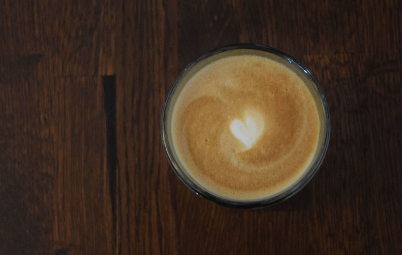 Cafe Coffee Cup Directly Above Drink Heart Latte Latteart Morning
