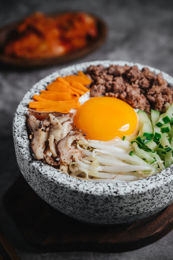 Bibimbap Bowl Breakfast Close-up Egg Egg Yolk Food Food And Drink Freshness Fried Fried Egg Healthy Eating Indoors  Japanese Food Meal Meat Ready-to-eat Still Life Sunny Side Up Table Temptation Vegetable Wellbeing