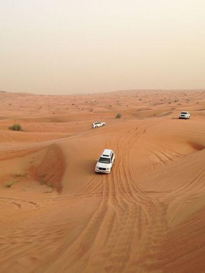 High angle view of car on desert