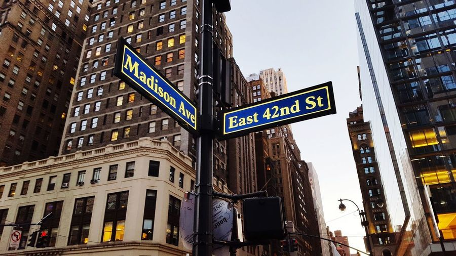 Streets of New York Madison Ave Avenue 42nd Street, NYC EyeEm Selects Newyorkcity EyeEmNewHere Highlight New York City USA City Cityscape Illuminated Nightlife Skyscraper Road Sign Architecture Sky Building Exterior Built Structure Traffic Arrow Sign Information Sign Street Name Sign Capital Letter