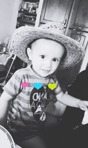 Childhood Baby Child One Person Looking At Camera Babies Only Babyboy ❤ Nephew ♡ Smiling Hat Blackandwhite Heart ❤