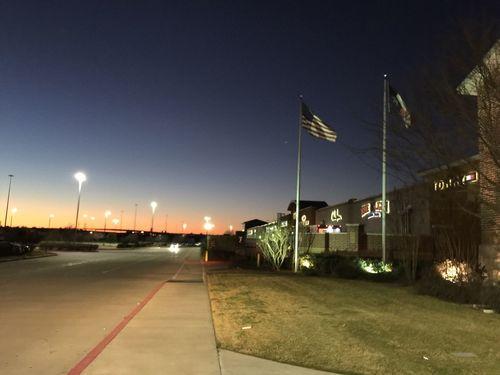 Learn & Shoot: After Dark Sunset Flag usa American Flag USA Twilight Dusk Building