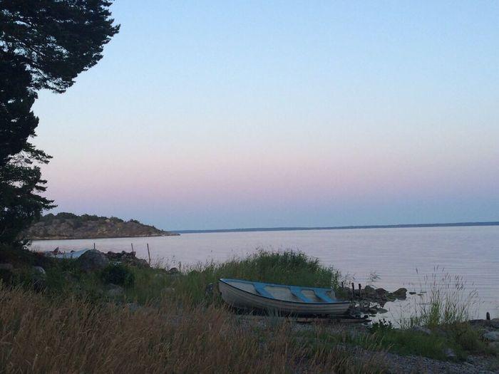 Evening Little Boat Sea Seaside Swedish Archipelago