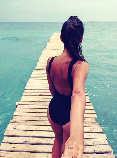 Corfu CORFU ISLAND Ipsos Ipsos Beach  Young Women Young Adult Sea Sea And Sky Fiance From The Back Seaside Handsome Girl One Piece Suit  Swimming Suit  Live For The Story
