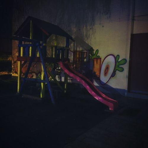 Jungle Gym Night Lights Grafitti Grafitti Art. When Children Go Sleep.. Ládví Czech Republic