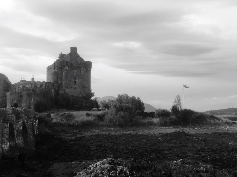Scotland Flag Flags In The Wind  Castle Strong Black And White History Midevil Stronghold