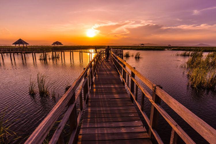 long wooden bridge in nature lake Water Sea Sunset Beach Horizon Boat Deck Sun Tree Red Pier Footbridge Romantic Sky Dramatic Sky Seascape