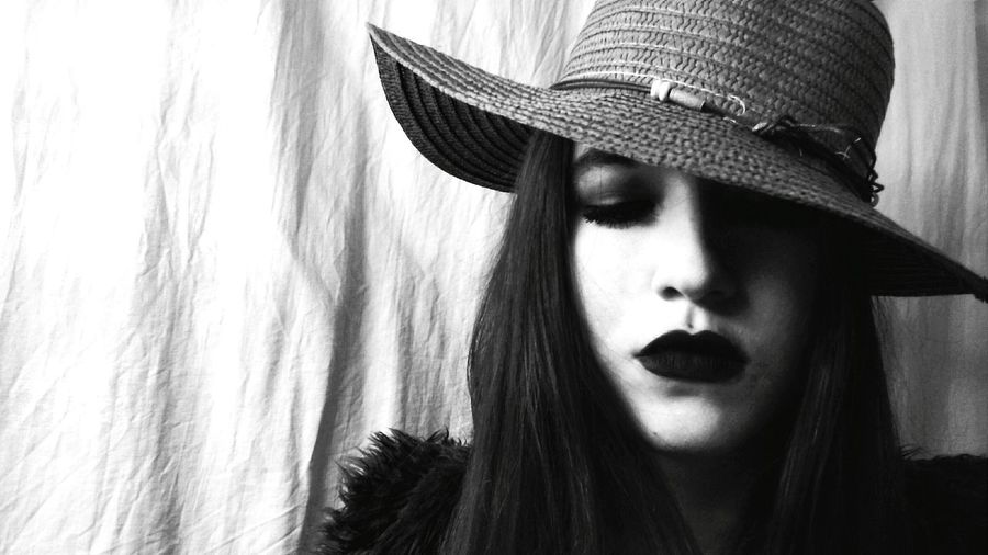 Modeling Session Blackandwhite Photography Dark Photography Black And White Collection  Blackandwhite Enjoying Life Taking Photos Light And Shadows Hat Polishgirl Shadows & Lights Makeup DarkLipstick Black Lips Black Makeup